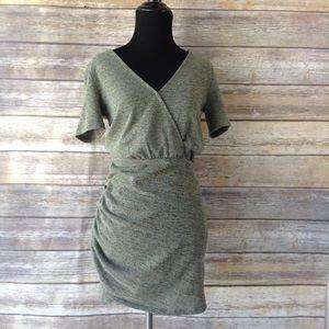 Zara TRF green side ruched mini dress S